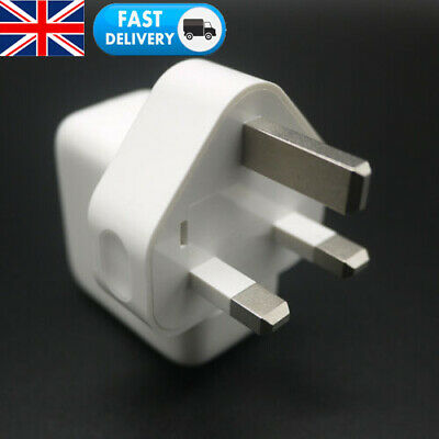 White USB Mains Adapter Wall Charger Charging UK Plug 12W Power For iOS Samsung