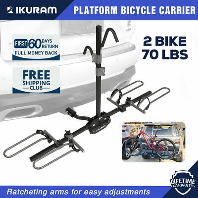 "IKURAM 2 Bicycle Carrier Rack Bike for Car Rear 2"" Tow Bar Hitch Mount Foldable"