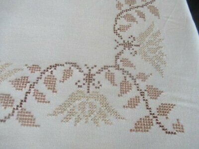Vintage Tablecloth Hand Embroidered Cross Stitch+Lace Edge