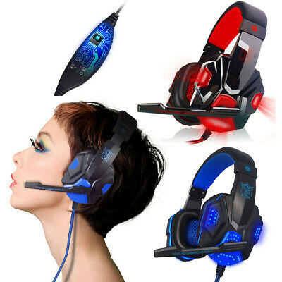 USB 3.5mm Wire LED With Mic Surround Stereo Gaming Headset Headband Headphone