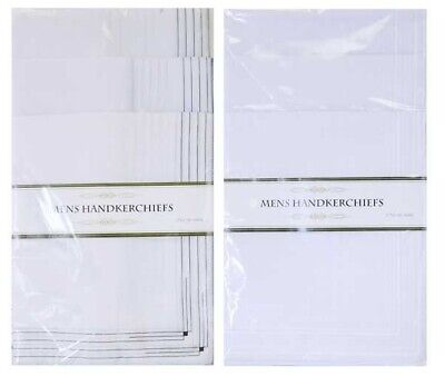 Pack of 5 Mens Large Hankies Handkerchiefs White Plain Cotton Polyester Hanky