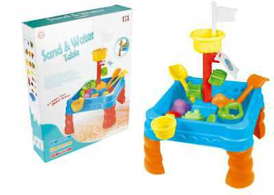 Sand and Water Play Table Kids Garden Game & 12 Sandpit Accessory Toys 313 Blue