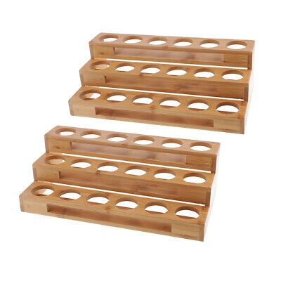 2pc 18-Slot Oil Aroma Storage Wood Rack Essential Container Tidy Organizer