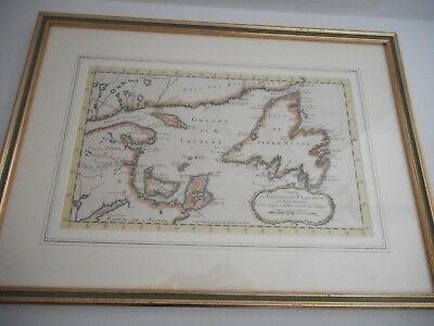 Scarce Original 18th Century Map Gulf of St Lawrence / Eastern Canada Map c 1780
