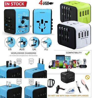 Travel Adapter Universal International Power European Outlet Plug AU EU  US UK