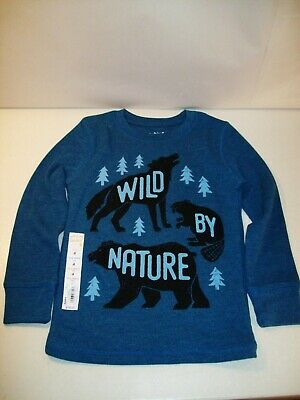 New Boy's Wild By Nature Long Sleeve Thermal T-Shirt Sz 4 Jumping Beans Blue