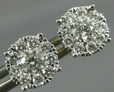 Large 1.0Ct Diamond 14Kt 2 Tone Gold Round Solitaire Halo Cluster Stud Earrings