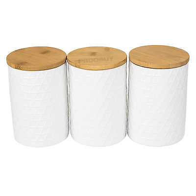 Set of 3 Tea Coffee Sugar Storage Jars White TRIANGULAR Canisters Wooden Lids