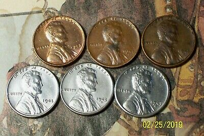 1943/1945--P,D and S @  Lincoln (Very-High end) Pennys