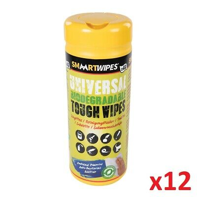 12 x 40pc Universal Tough Wipes Biodegradable 40pk Remove Dirt Paint Adhesives