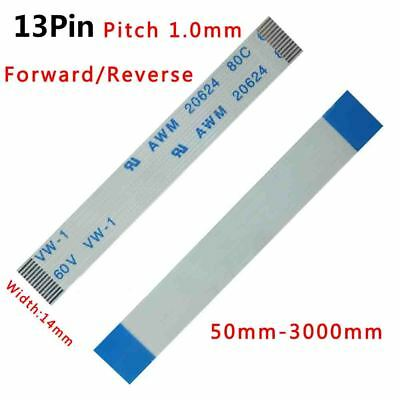 Pitch 1.0mm 13-Pin FFC/FPC Flexible Flat Cable 80C 60V VW-1 W:14mm L:50mm-3000mm