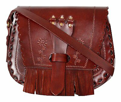 Medieval Catholic Celtic Designer Handtool Carved Leather Shoulder Crossbody Bag