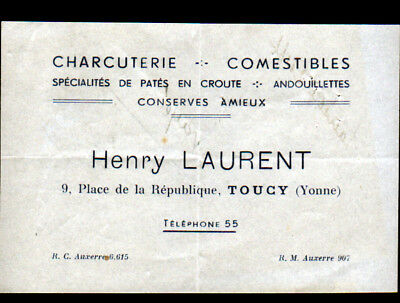 TOUCY 89 COMMERCE CHARCUTERIE Henry LAURENT Carte Facture De Visite