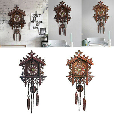 2Pcs Retro Traditional Handcrafted Wood Cuckoo Wall Clock with Pendulum