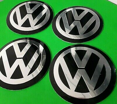 4 x 65mm VW Black Wheel Centrecap Emblems Overlays/ Stickers Aluminium 3D Logo