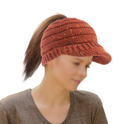 Ponytail Hat Beanie Hole Accessory Outdoor Women Ladies Knit Bun Winter Xmas