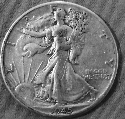 1945 D Denver Very Fine Beautiful U.s Liberty Walking Silver Half Dollar Coin