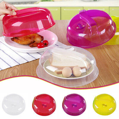 """Plastic Microwave Plate Cover Clear Steam Vent Splatter Lid 10.24"""" Food Dish New"""
