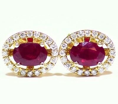 1.52CT 14K Gold Natural Ruby Round Cut Diamond Stud Halo Anniversary Earrings