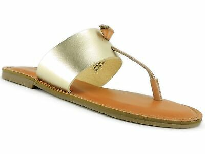 Womens Sandals Candies Clr Champagne Thong Toe Flats Slip On LG 9-10 No Box NEW
