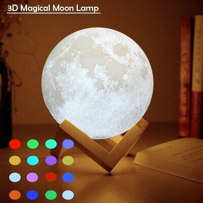 3D Printing Moon Lamp USB LED Night Lunar Light Touch 16 Color Changing + Remote