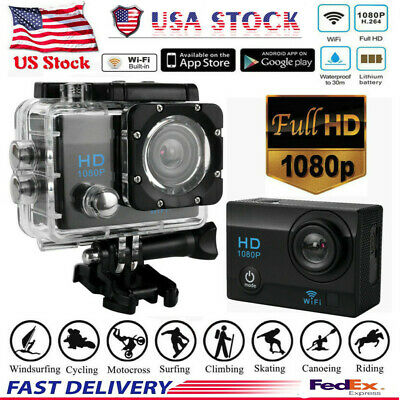 Waterproof Wifi 1080P 4K Ultra HD Sport Action Camera DVR DV Cam Camcorder BK US