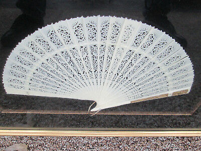 COL CW Decorative Celluloid Pierced Carved Fan in Frame