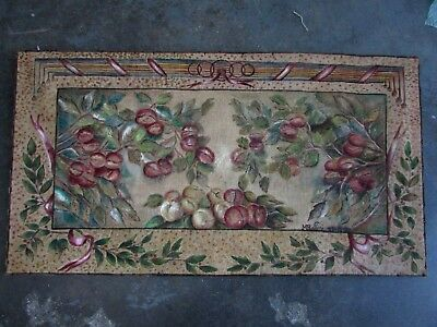 1927 deco christmas wall tapestry hand painted handiwork arts and craft