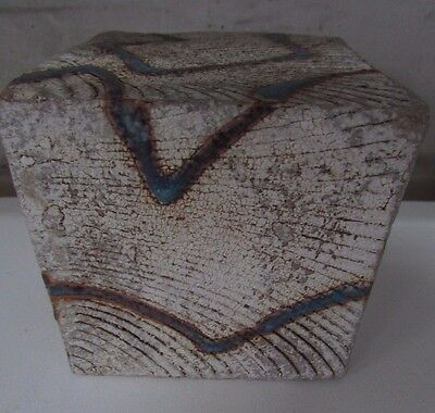 Lindsey Bedogni Textured Cube Art Sculpture Australian Pottery Studio Signed #3