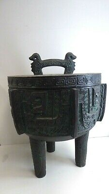 Fantastic Large Ice Bucket Retro Mid Century Bronzed Asian Censer Pot Lidded Urn