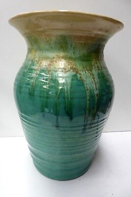 Large Remued Green Drip Glaze Vase Hand Made Australian Pottery Ceramic