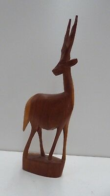 Wooden Antelope Deer Statue Mid Century Timber Carved Designer Decor