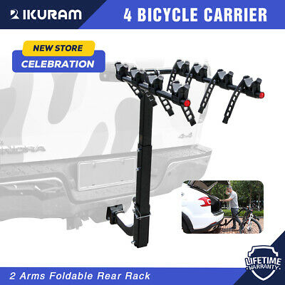 "IKURAM 4 Bike Bicycle Car Rack Carrier 2"" Hitch Mount Towbar Fork Car Rear Steel"