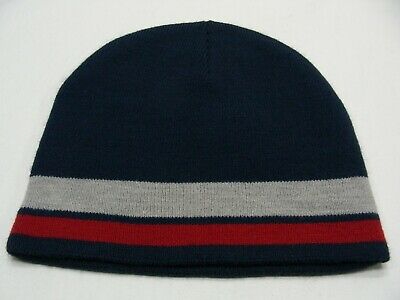 144e7b640db Navy Blue With Gray   Brick Red Striped - One Size Stocking Cap Beanie Hat