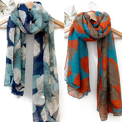 Floral Retro Ladies Soft Long Neck Large Scarf Wrap Shawl Pashmina Stole Scarves