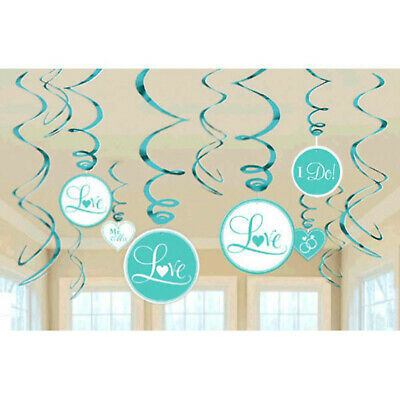 12 Assorted Wedding Party ROBIN EGG BLUE Style Hanging Cutout Swirls Decorations