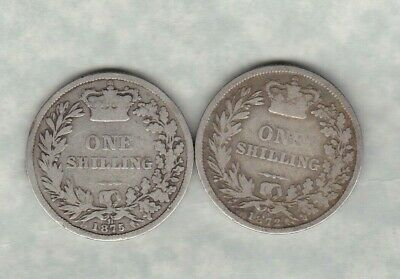 1872 & 1875 Victorian Die Number Shillings In A Used Condition