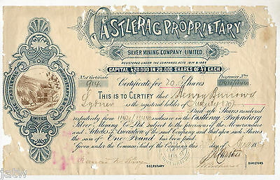 Share Scrip - Mining. 1889 Castlerag Proprietary Silver Mining Co. (NSW)