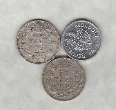 2003 Moldova/1915 Serbia & 1925 Yugoslavia Coins In Good Very Fine Condition