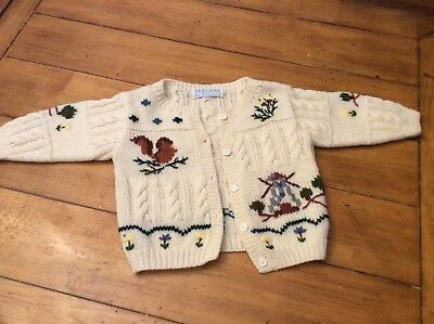 Vintage Girl Boy Embroidered Fall Folk sweater cardigan Size 12-24 months France