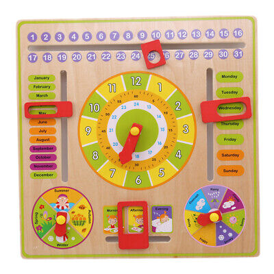 Multifunction Daily Learning Digital Clock Calendar Wooden Season Puzzle Toy LG