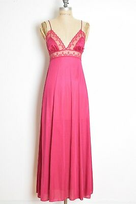 vintage 70s nightgown burgundy lace lingerie slip dress gown nightie XS S