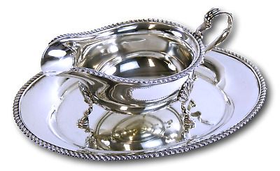 ELKINGTON & Co - Sterling Silver - Gravy Boat on Tray - 1964