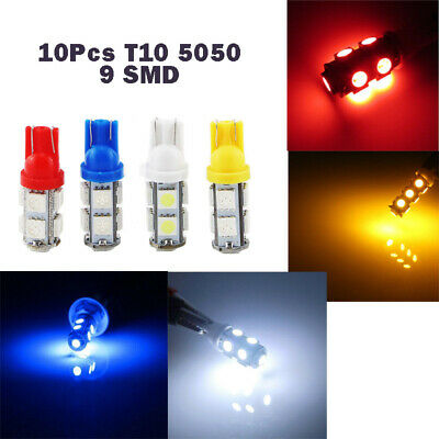 10Pcs T10 5050 9 SMD W5W 194 Led Clearance License Plate Lamp Indicator 4 Color