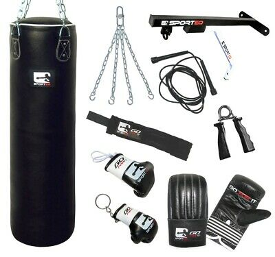Sporteq 5ft Heavy Filled Punch Bag Set Boxing Gloves MMA Kick Punching Muay Thai