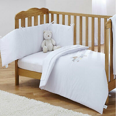Clair de Lune Baby 2 Piece Cot/Cot Bed Quilt & Bumper Bedding Set, White