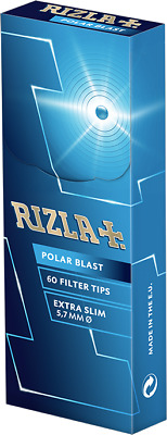Rizla Polar Blast Extra Slim Filter Tips- 60 Tips Per Box- 3 Boxes For £4.39
