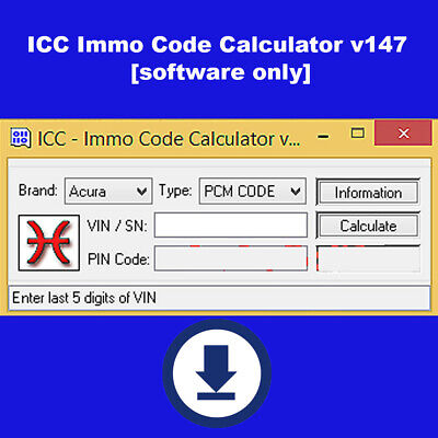 ICC Immo Code Calculator v147 software only NO Dongle NO Hardware