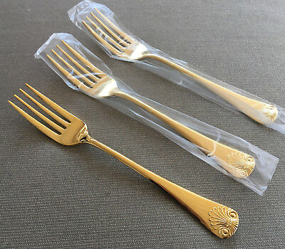 3 Dinner Forks Gold Electroplate Shell 24 KT EP Japan 285677 Fancy Stainless NEW