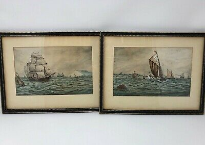 Pair of 19th Century Watercolour Painting of Boats at Sea by J.W. Signed